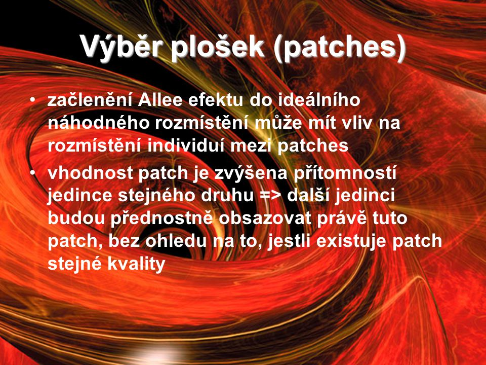 Výběr plošek (patches)