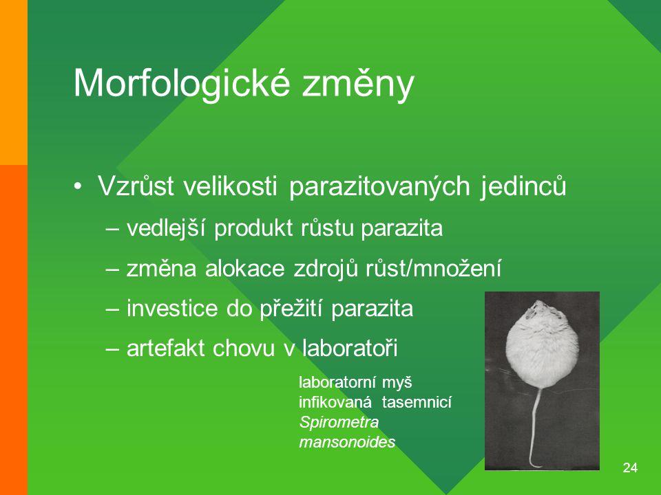 Morfologické změny Vzrůst velikosti parazitovaných jedinců