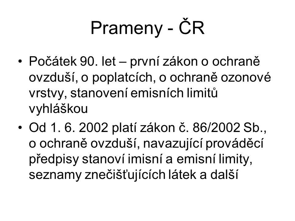 Prameny - ČR Počátek 90. let – první zákon o ochraně ovzduší, o poplatcích, o ochraně ozonové vrstvy, stanovení emisních limitů vyhláškou.