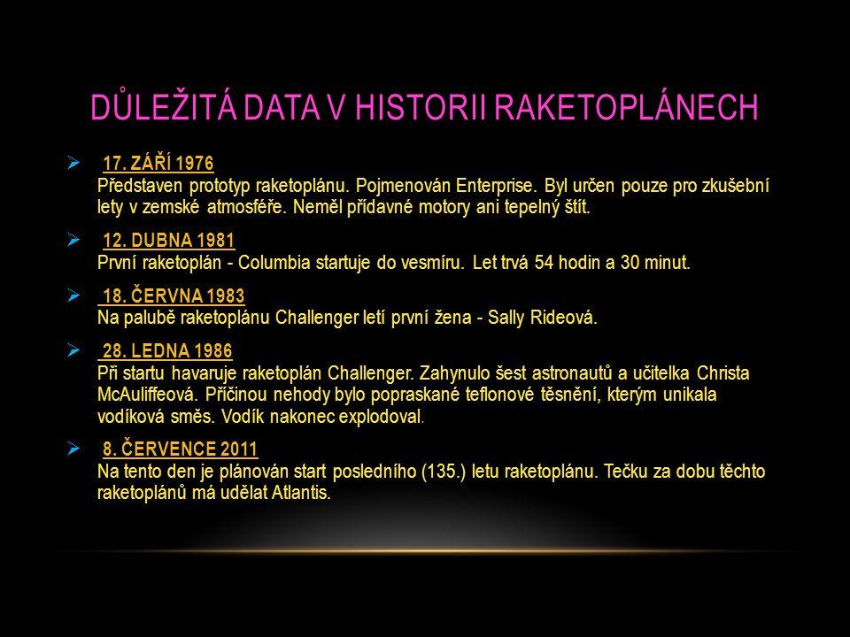 Důležitá data v historii raketoplánech