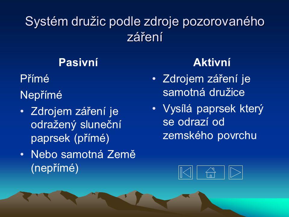Systém družic podle zdroje pozorovaného záření
