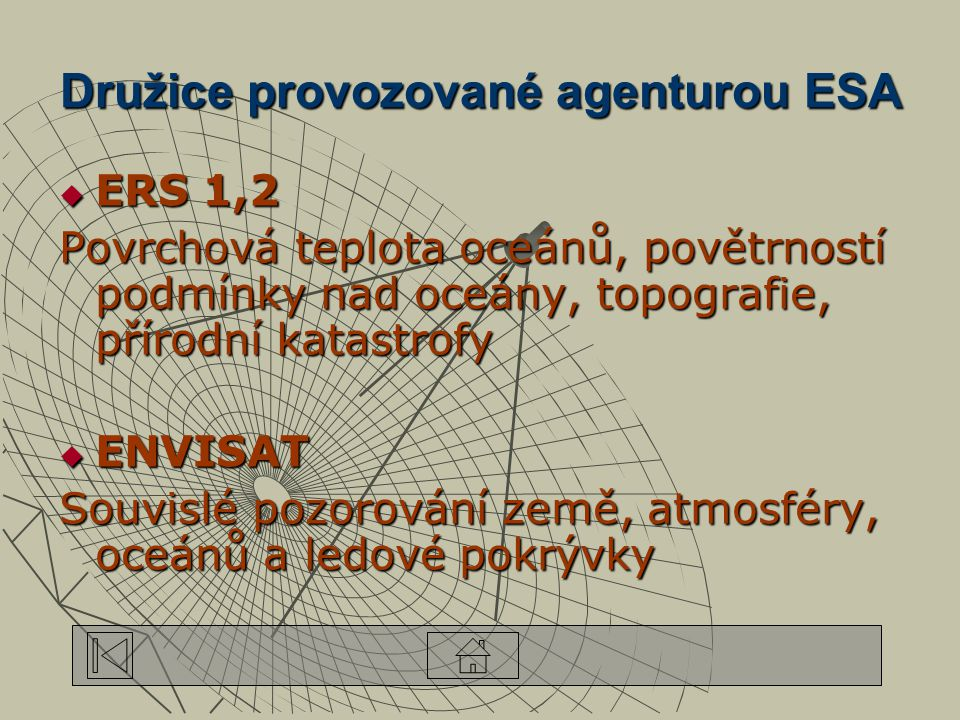 Družice provozované agenturou ESA