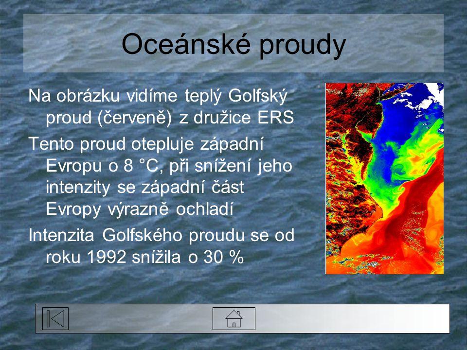 Oceánské proudy Na obrázku vidíme teplý Golfský proud (červeně) z družice ERS.