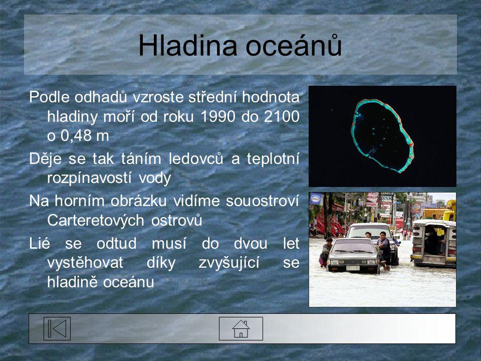 Hladina oceánů Podle odhadů vzroste střední hodnota hladiny moří od roku 1990 do 2100 o 0,48 m.
