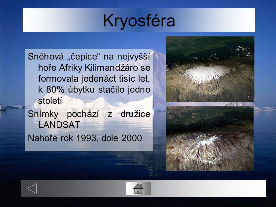 """Kryosféra Sněhová """"čepice na nejvyšší hoře Afriky Kilimandžáro se formovala jedenáct tisíc let, k 80% úbytku stačilo jedno století."""