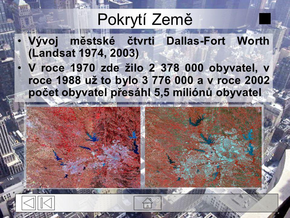 Pokrytí Země Vývoj městské čtvrti Dallas-Fort Worth (Landsat 1974, 2003)