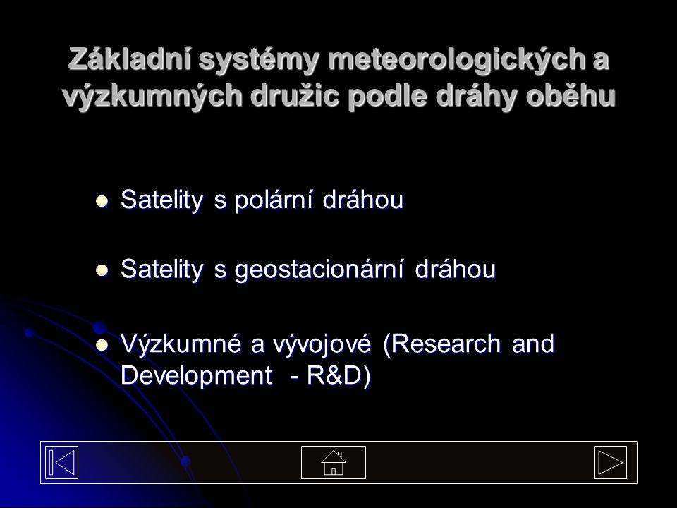 Základní systémy meteorologických a výzkumných družic podle dráhy oběhu