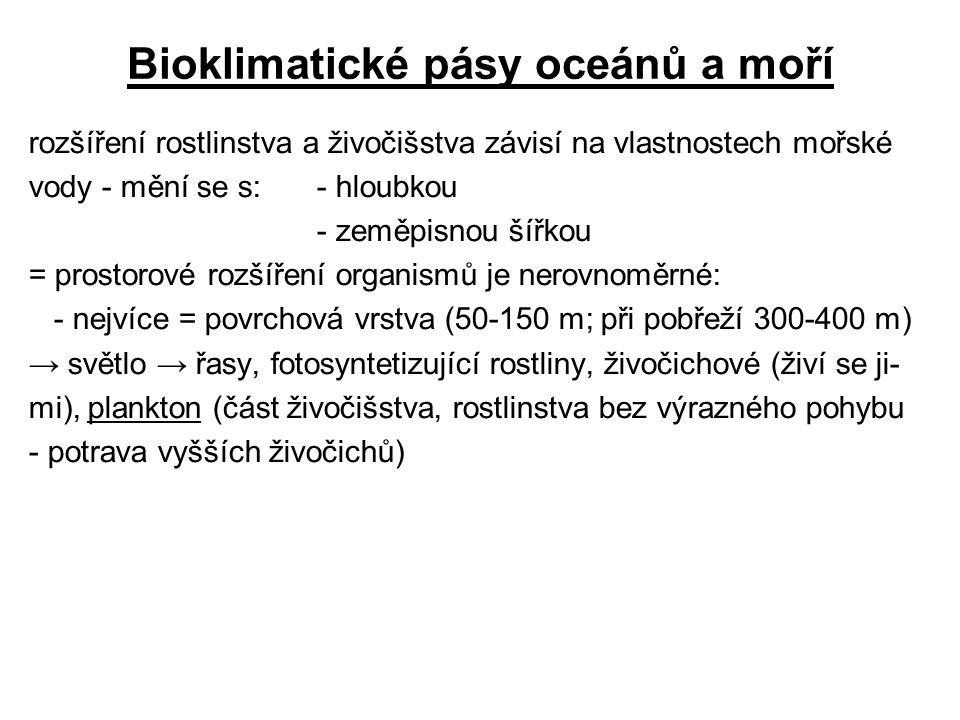 Bioklimatické pásy oceánů a moří