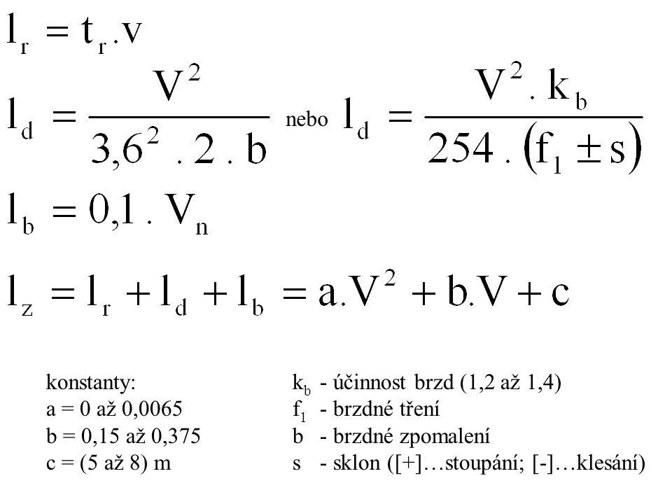 nebo konstanty: a = 0 až 0,0065. b = 0,15 až 0,375. c = (5 až 8) m. kb - účinnost brzd (1,2 až 1,4)