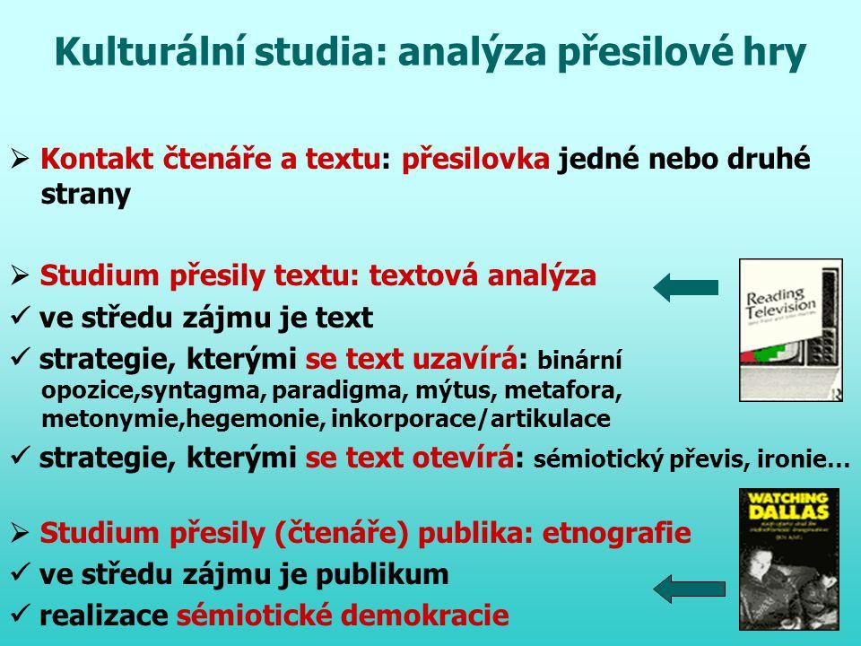 Kulturální studia: analýza přesilové hry