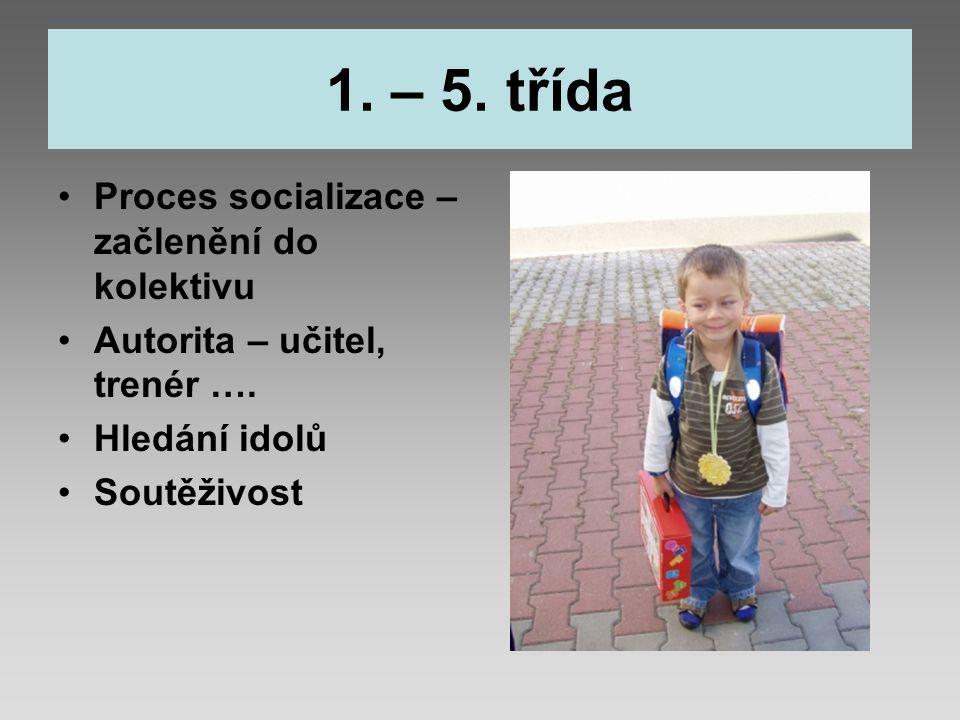 1. – 5. třída Proces socializace – začlenění do kolektivu