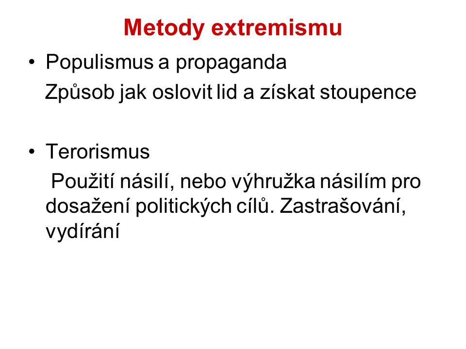 Metody extremismu Populismus a propaganda