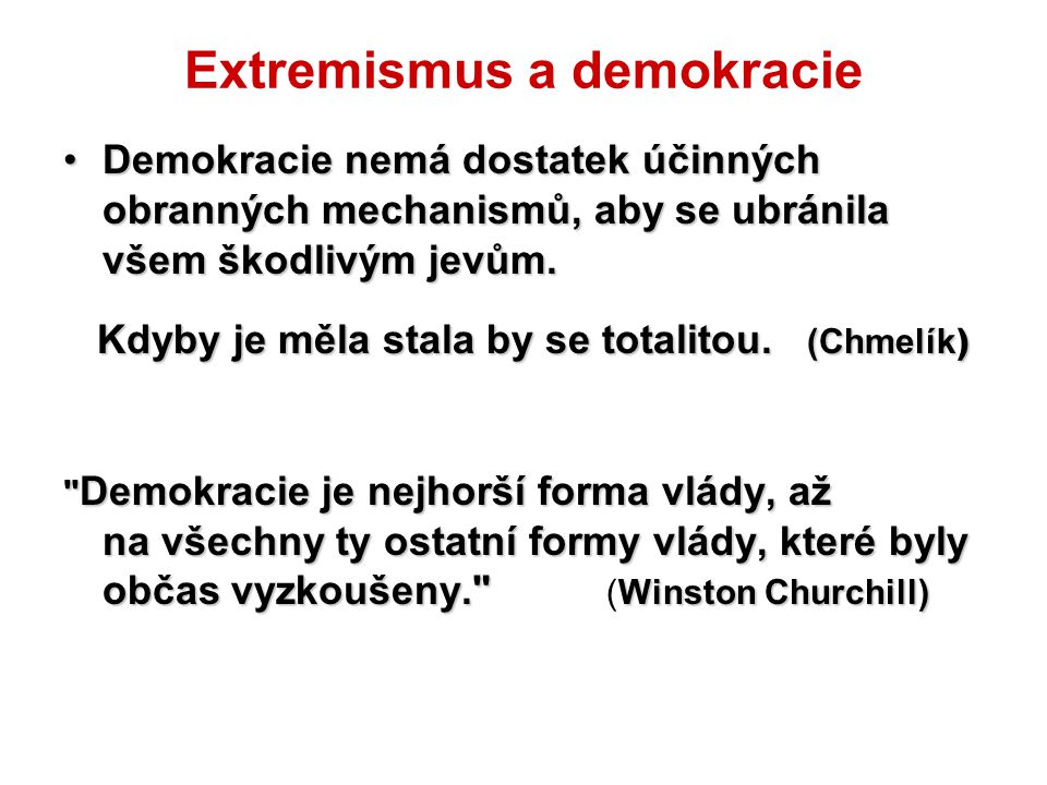 Extremismus a demokracie