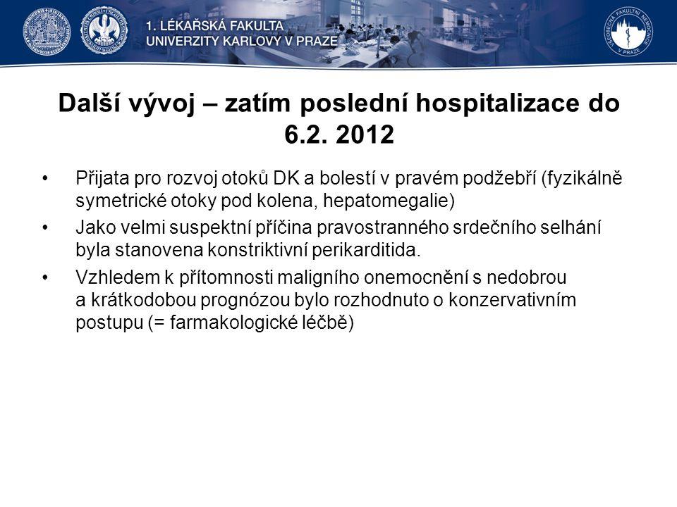 Další vývoj – zatím poslední hospitalizace do 6.2. 2012