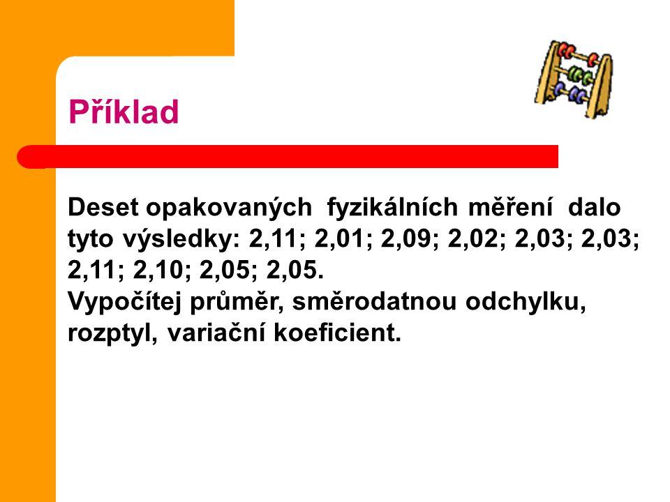 Příklad Deset opakovaných fyzikálních měření dalo tyto výsledky: 2,11; 2,01; 2,09; 2,02; 2,03; 2,03; 2,11; 2,10; 2,05; 2,05.