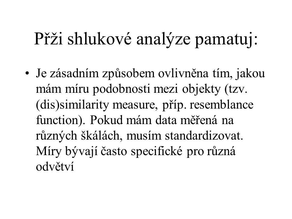 Přži shlukové analýze pamatuj: