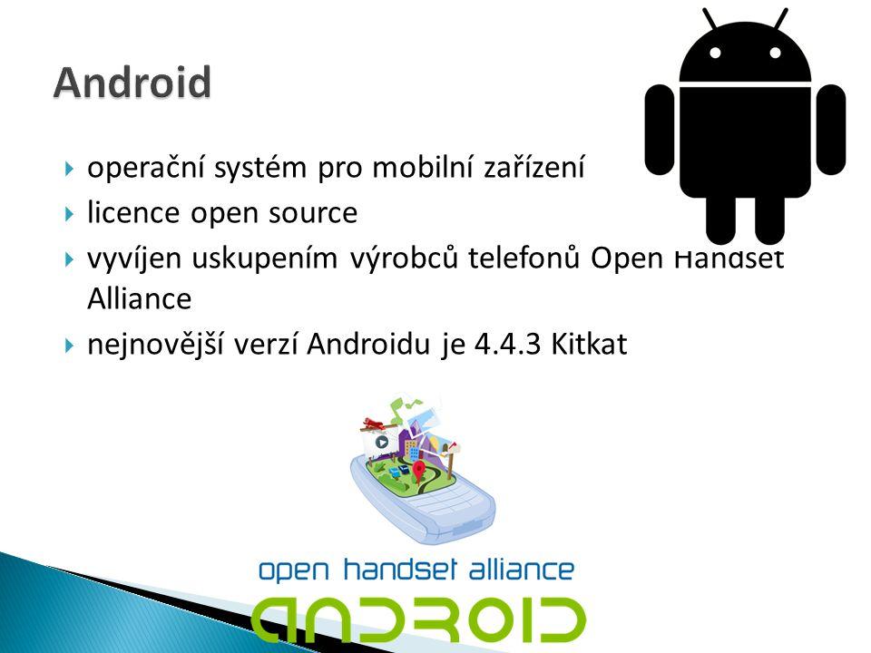 Android operační systém pro mobilní zařízení licence open source
