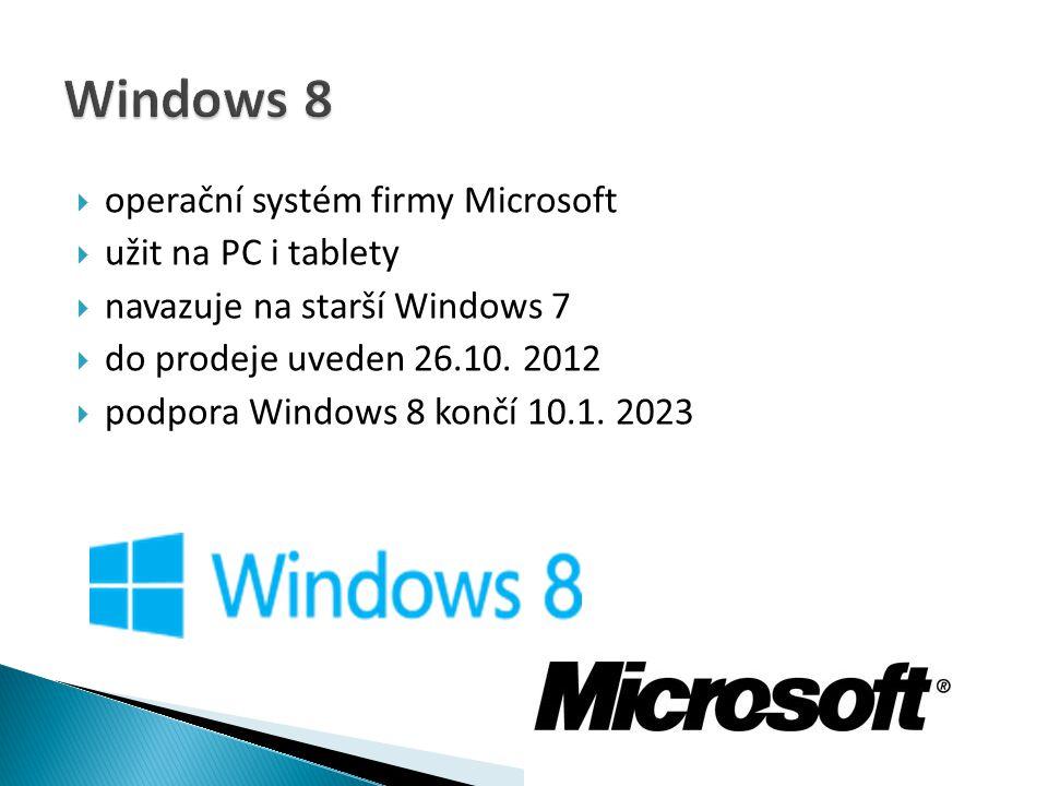 Windows 8 operační systém firmy Microsoft užit na PC i tablety