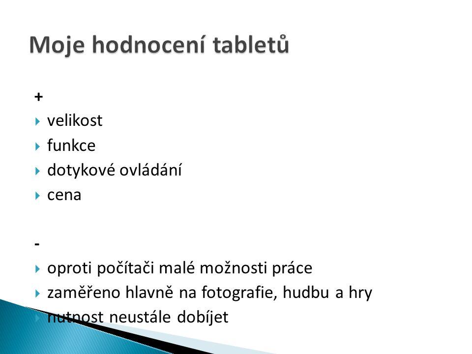 Moje hodnocení tabletů