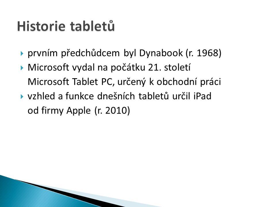 Historie tabletů prvním předchůdcem byl Dynabook (r. 1968)
