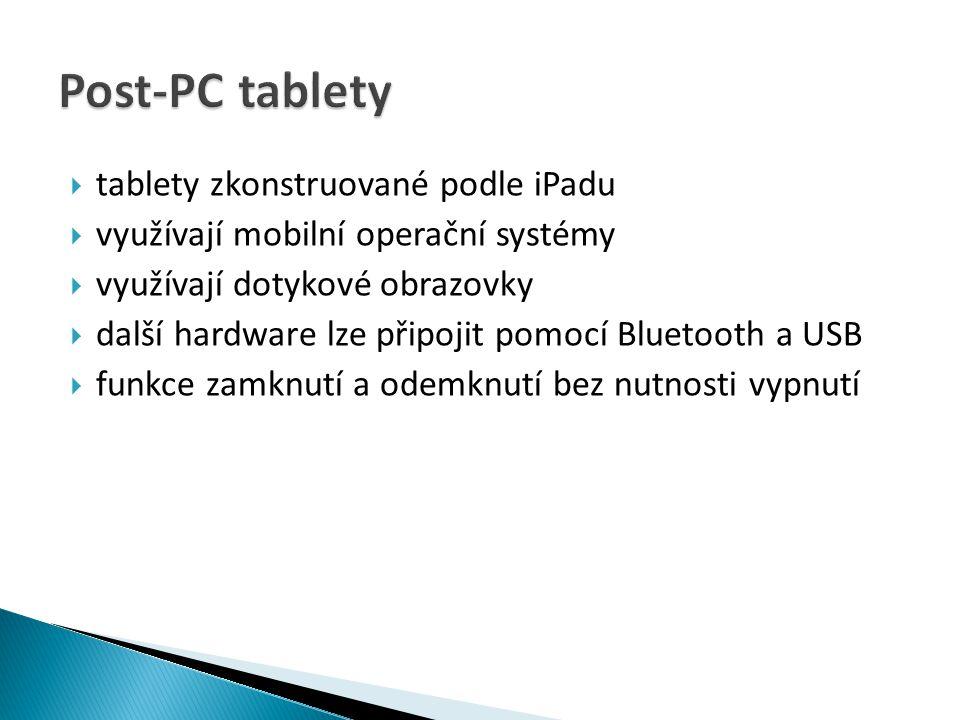 Post-PC tablety tablety zkonstruované podle iPadu