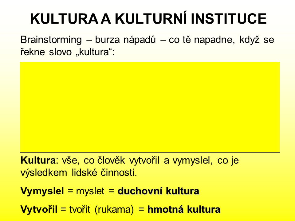 KULTURA A KULTURNÍ INSTITUCE