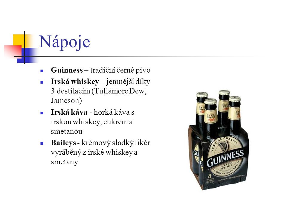 Nápoje Guinness – tradiční černé pivo