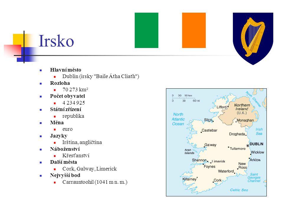 Irsko Hlavní město Dublin (irsky Baile Átha Cliath ) Rozloha