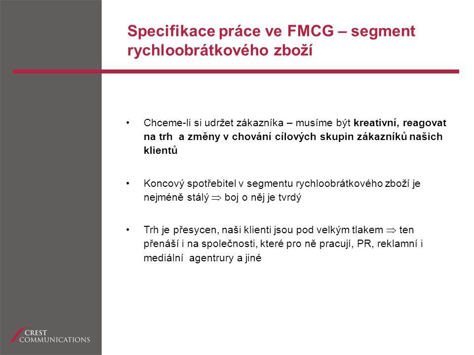 Specifikace práce ve FMCG – segment rychloobrátkového zboží