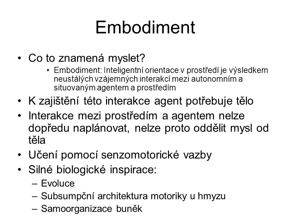 Embodiment Co to znamená myslet