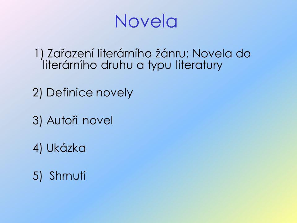 Novela 1) Zařazení literárního žánru: Novela do literárního druhu a typu literatury. 2) Definice novely.