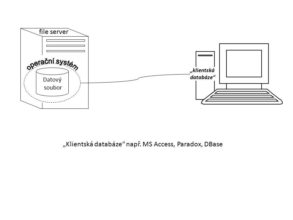 """""""Klientská databáze např. MS Access, Paradox, DBase"""