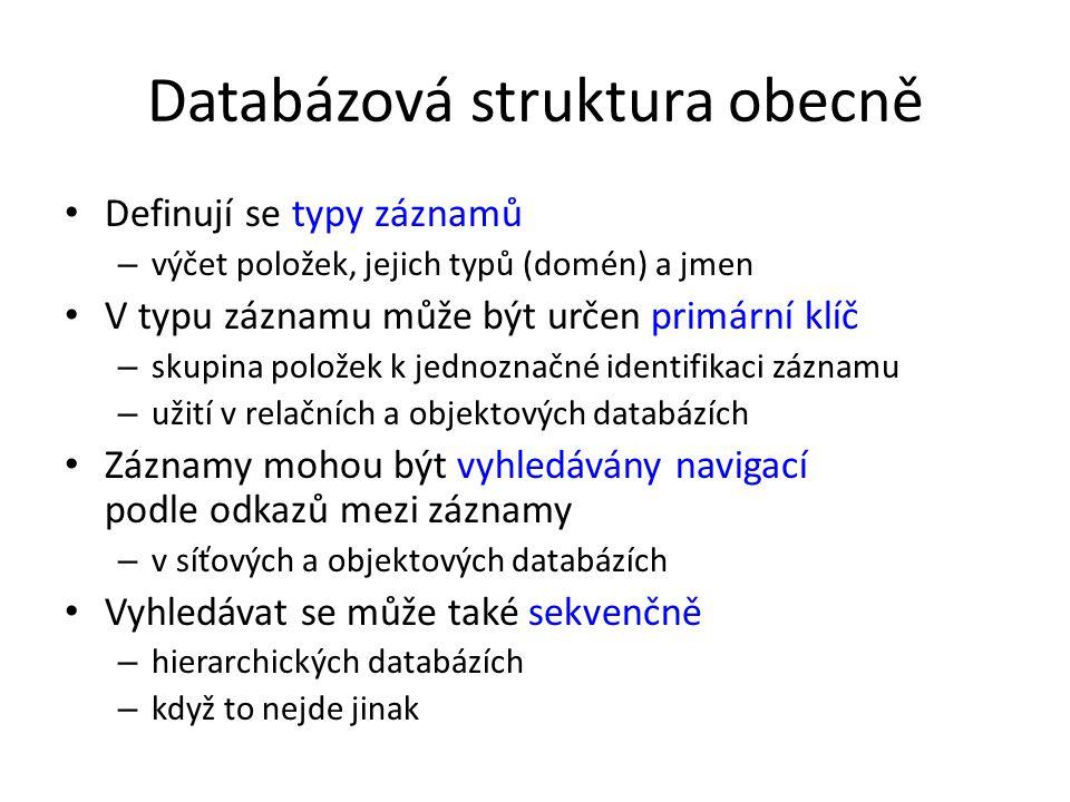Databázová struktura obecně