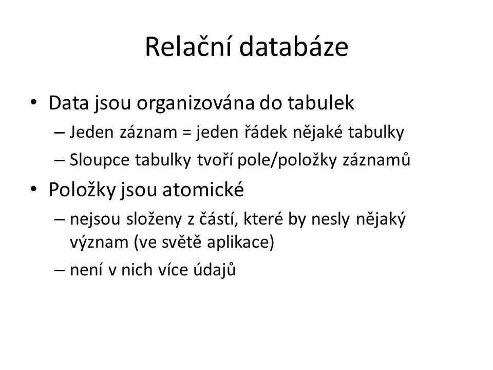 Relační databáze Data jsou organizována do tabulek