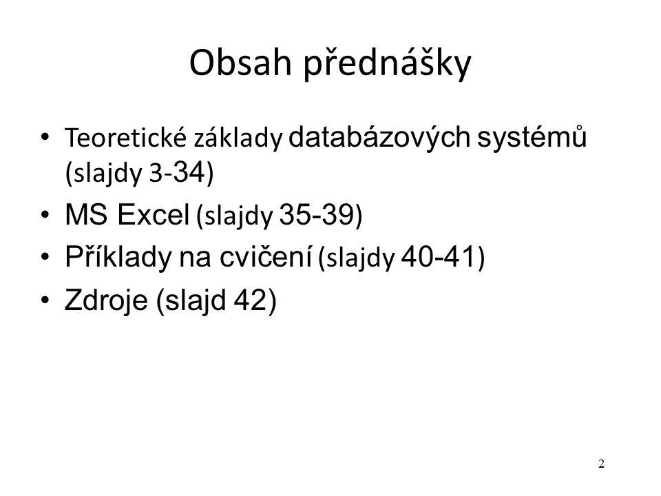 Obsah přednášky Teoretické základy databázových systémů (slajdy 3-34)