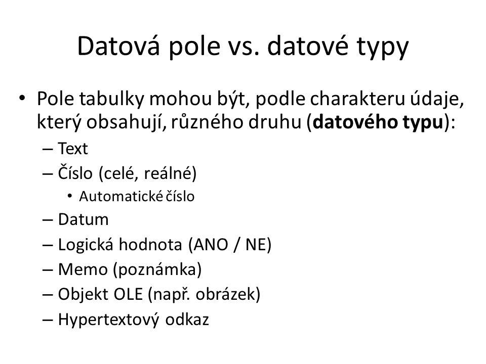 Datová pole vs. datové typy