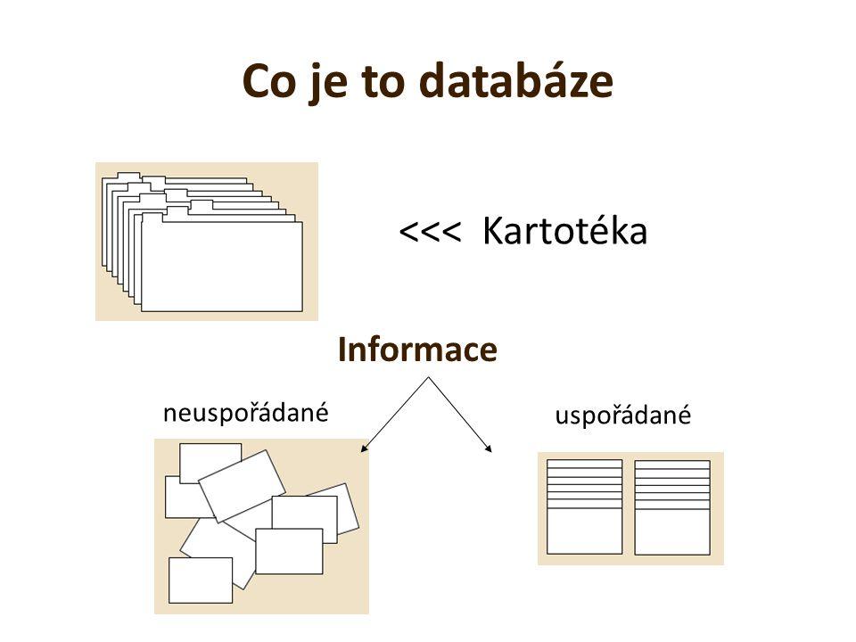 Co je to databáze <<< Kartotéka Informace neuspořádané
