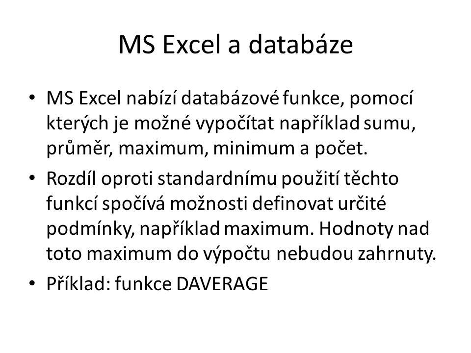MS Excel a databáze MS Excel nabízí databázové funkce, pomocí kterých je možné vypočítat například sumu, průměr, maximum, minimum a počet.