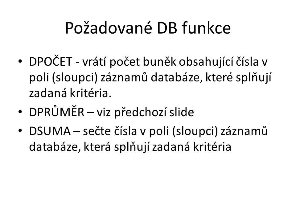 Požadované DB funkce DPOČET - vrátí počet buněk obsahující čísla v poli (sloupci) záznamů databáze, které splňují zadaná kritéria.