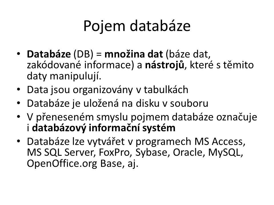 Pojem databáze Databáze (DB) = množina dat (báze dat, zakódované informace) a nástrojů, které s těmito daty manipulují.
