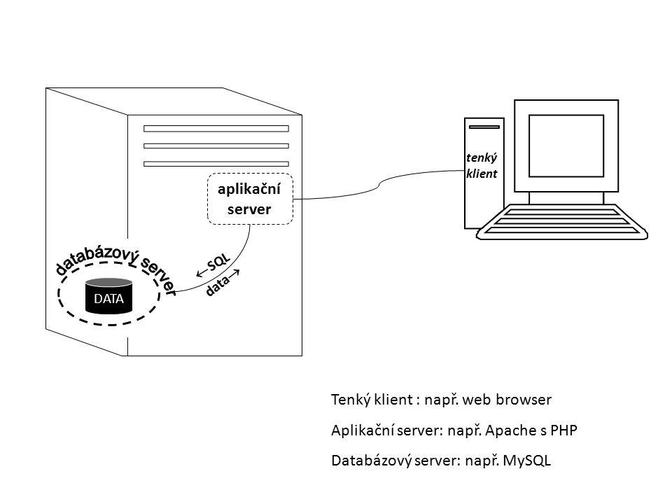 Tenký klient : např. web browser Aplikační server: např. Apache s PHP