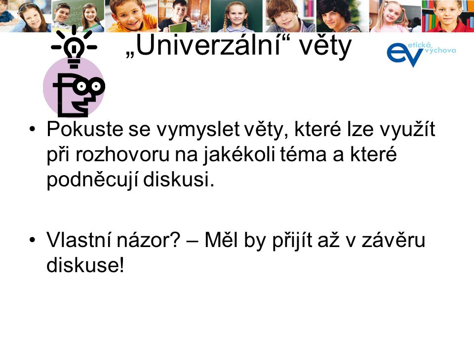 """kurz pro lektory 19. a 20.8.2013. """"Univerzální věty."""