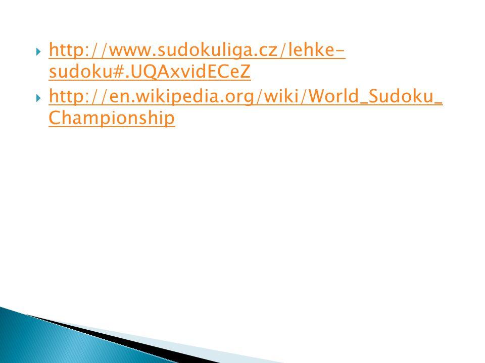 http://www.sudokuliga.cz/lehke- sudoku#.UQAxvidECeZ