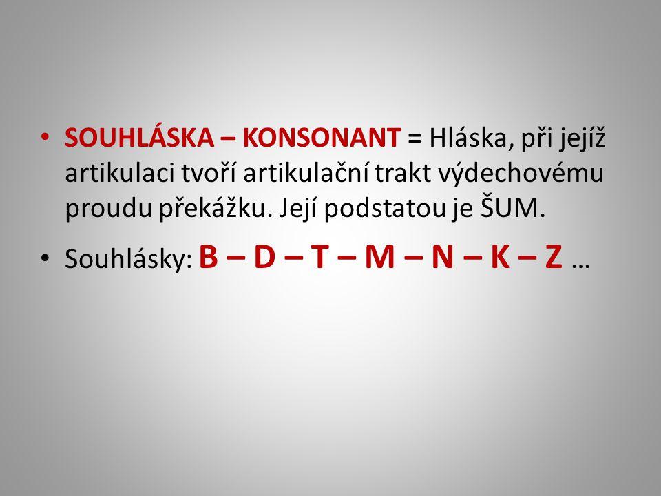 SOUHLÁSKA – KONSONANT = Hláska, při jejíž artikulaci tvoří artikulační trakt výdechovému proudu překážku. Její podstatou je ŠUM.