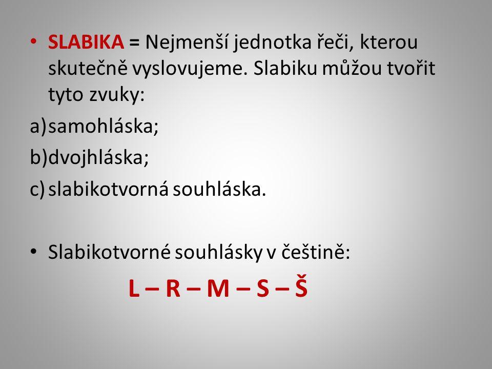 SLABIKA = Nejmenší jednotka řeči, kterou skutečně vyslovujeme