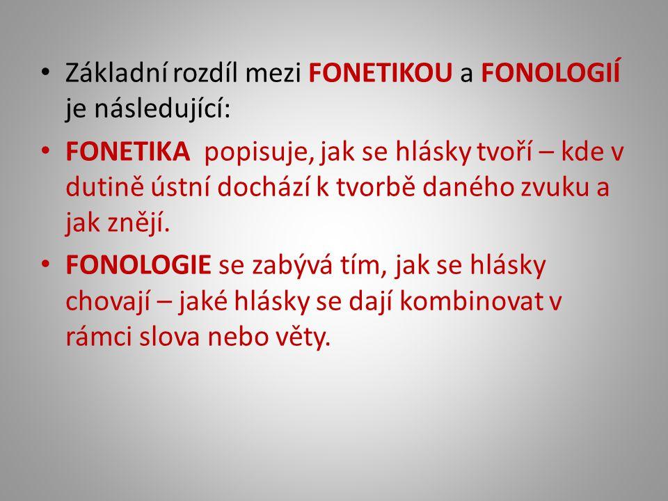 Základní rozdíl mezi FONETIKOU a FONOLOGIÍ je následující:
