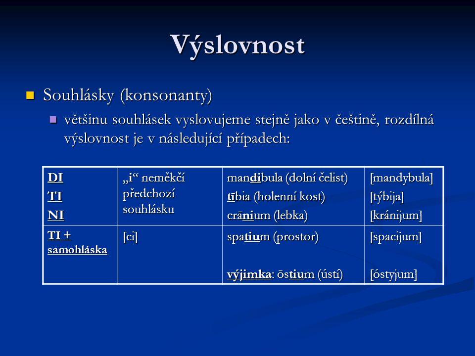 Výslovnost Souhlásky (konsonanty)