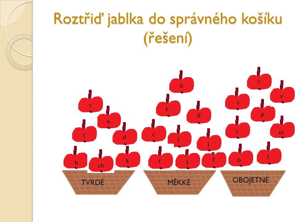 Roztřiď jablka do správného košíku (řešení)
