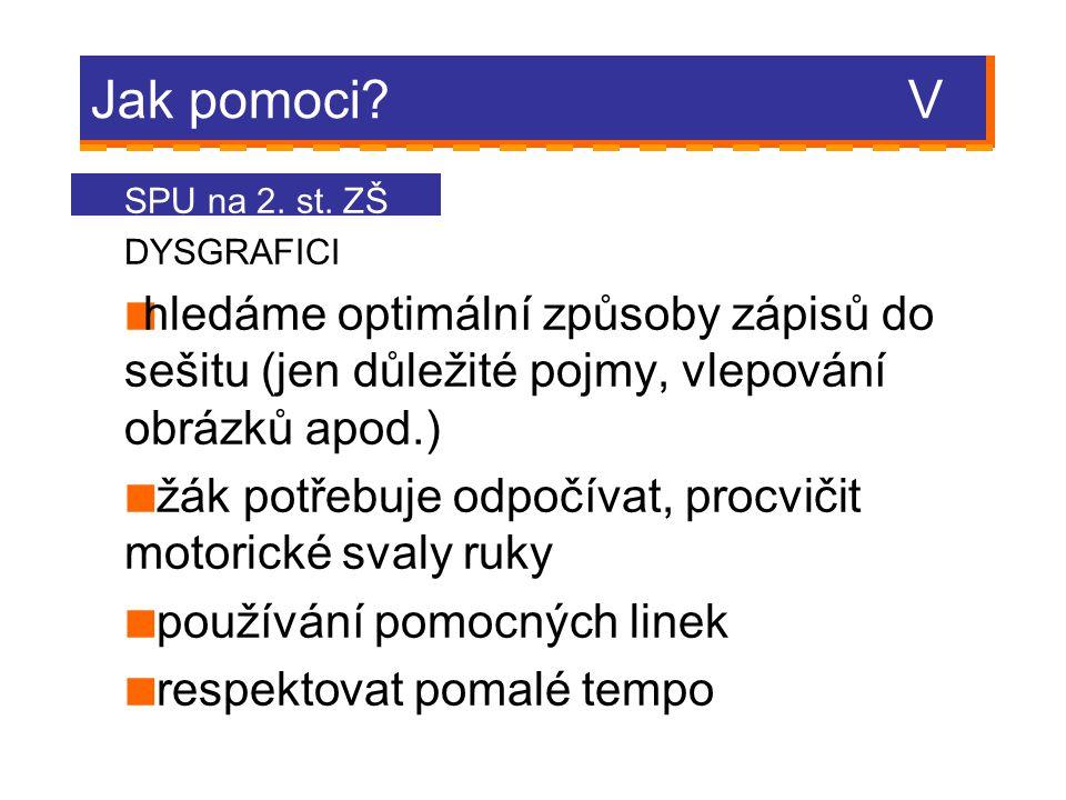 Jak pomoci V SPU na 2. st. ZŠ. DYSGRAFICI.