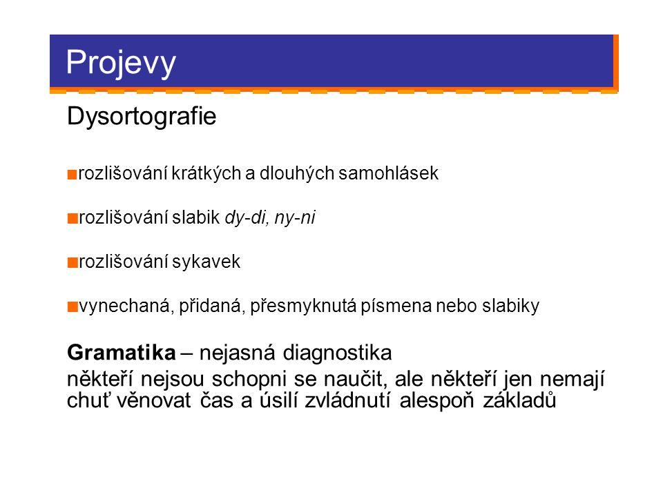 Projevy Dysortografie Gramatika – nejasná diagnostika